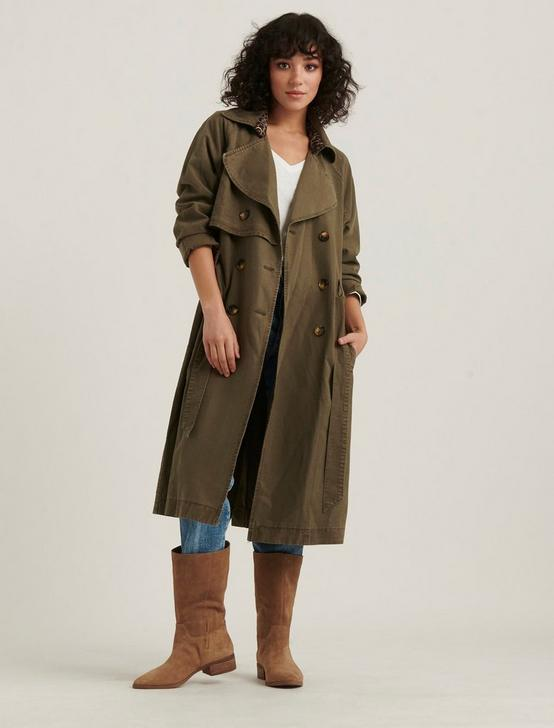 THE RELAXED TRENCH COAT JACKET, OLIVE TARMAC, productTileDesktop