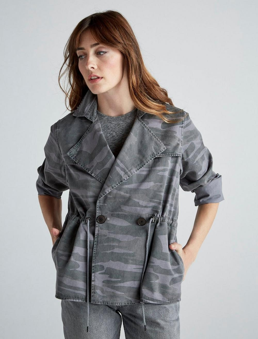 PRINTED CROPPED TRENCH COAT JACKET, image 1