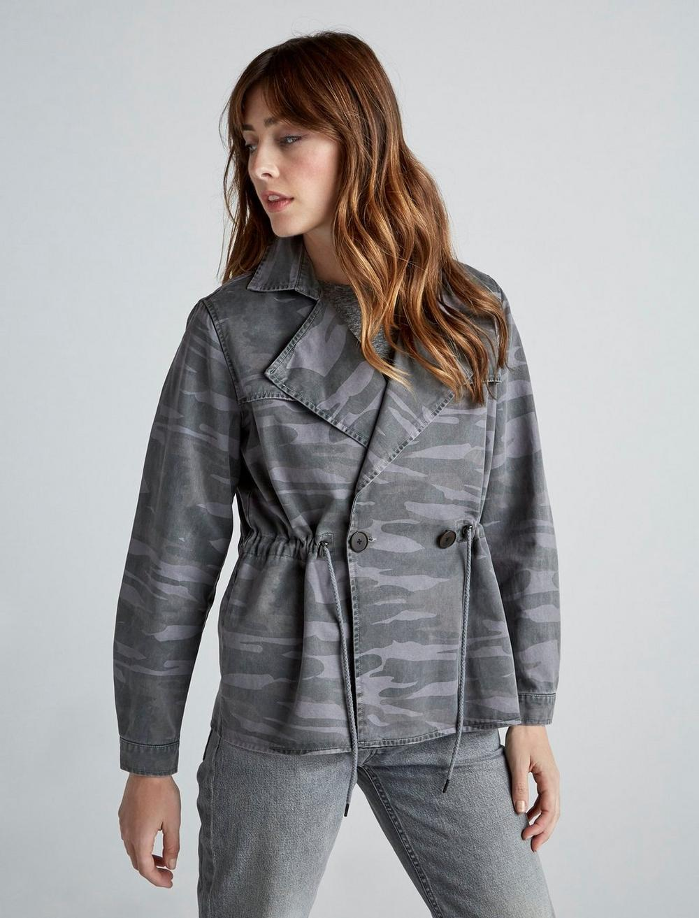 PRINTED CROPPED TRENCH COAT JACKET, image 3