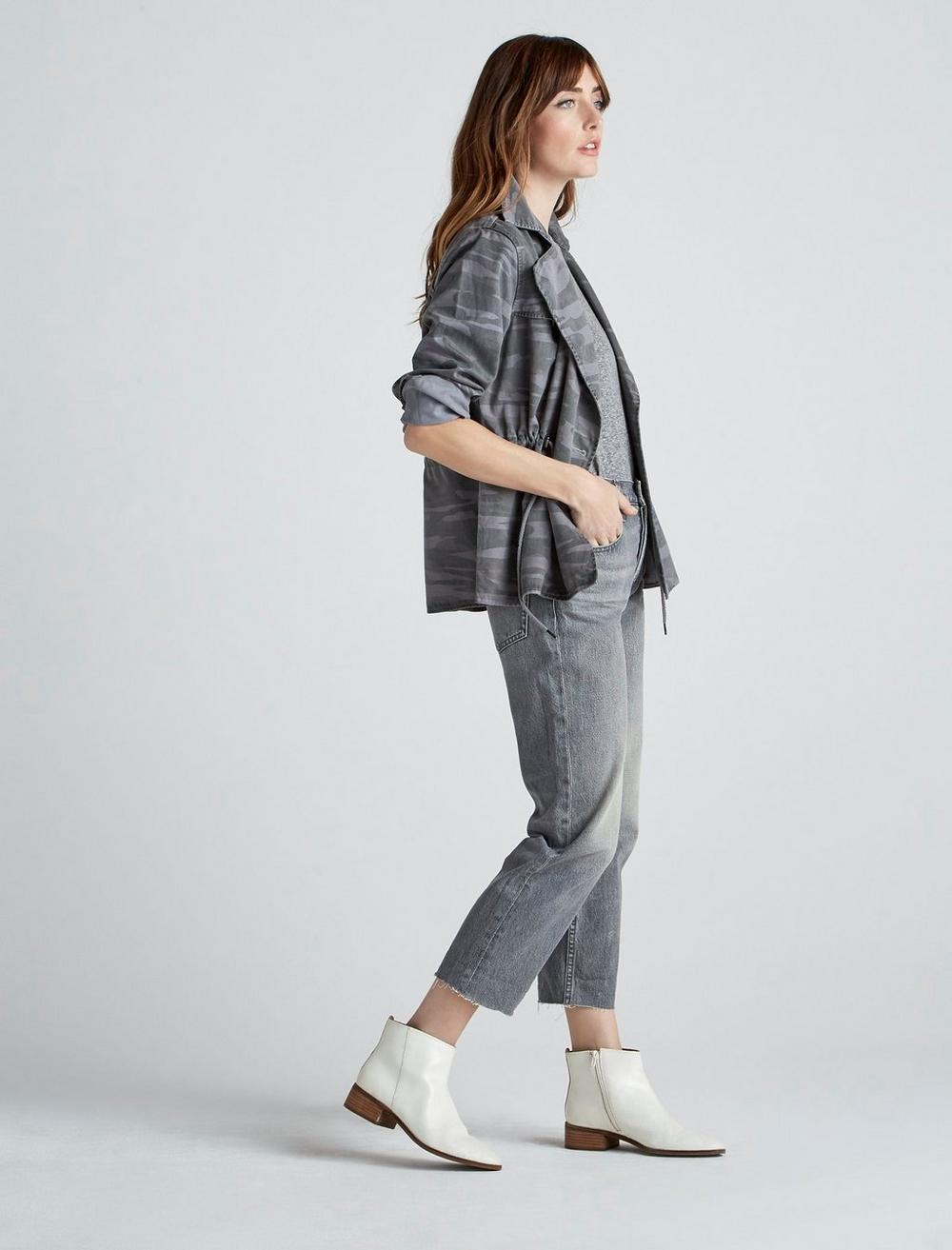 PRINTED CROPPED TRENCH COAT JACKET, image 4