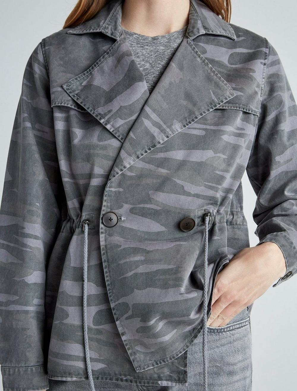 PRINTED CROPPED TRENCH COAT JACKET, image 6