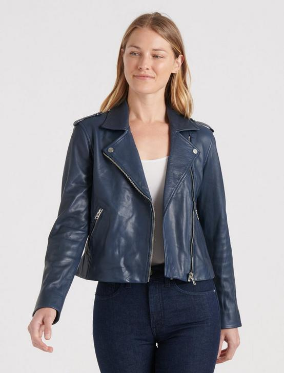 LEATHER MOTO JACKET, NAVY BLUE, productTileDesktop