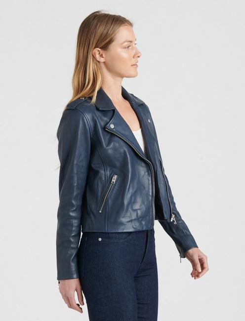 LEATHER MOTO JACKET, NAVY BLUE