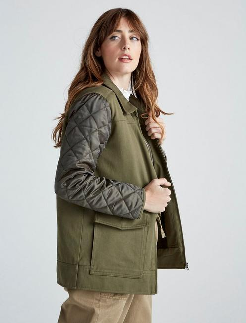 QUILTED  JACKET, OLIVE GREEN