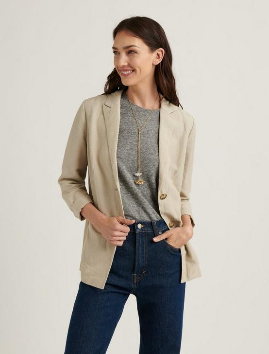 LINEN SOFT BLAZER JACKET, ECRU, productTileDesktop