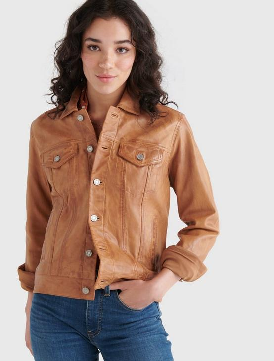 LEATHER TRUCKER JACKET, COGNAC, productTileDesktop