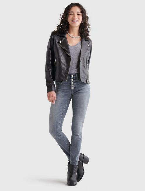 LEATHER MOTO JACKET, 001 LUCKY BLACK