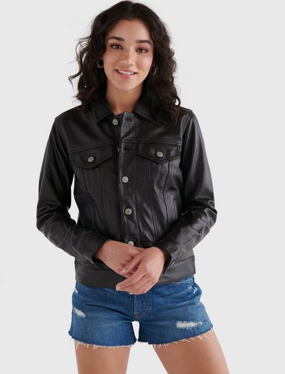 LEATHER TRUCKER JACKET, 001 LUCKY BLACK, productTileDesktop