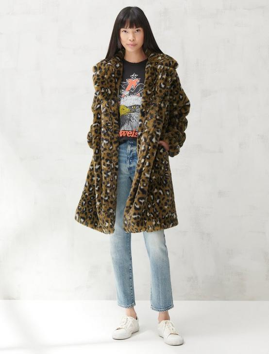 FAUX FUR LONG LINE COAT, LEOPARD CAMO, productTileDesktop