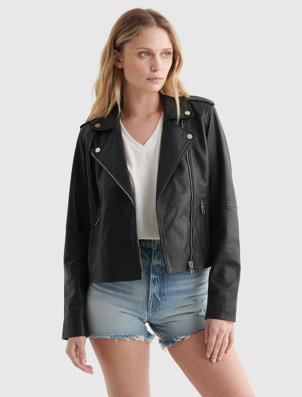 Classic Leather Moto Jacket, image 1