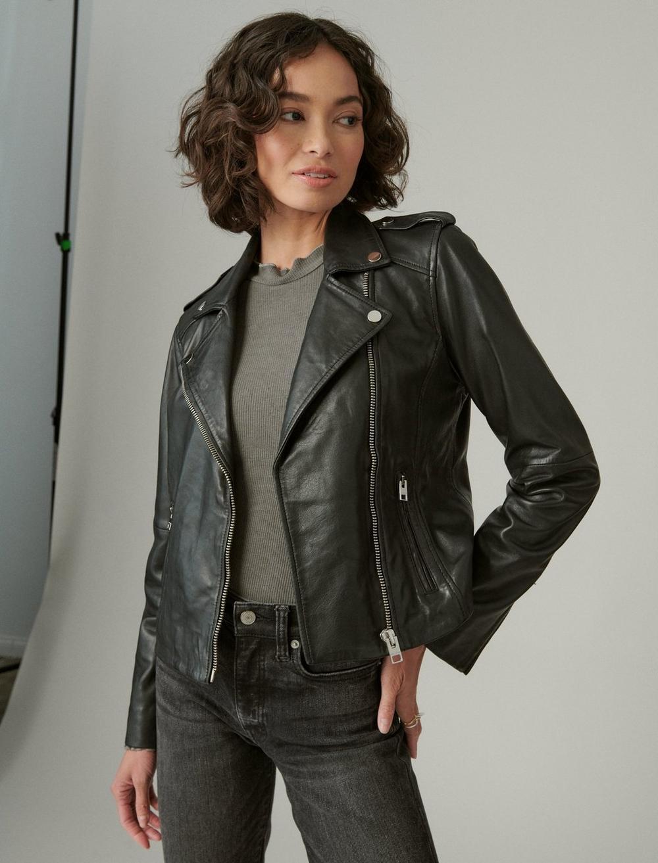 Classic Leather Moto Jacket, image 3