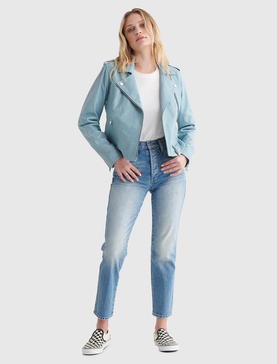 Classic Leather Moto Jacket, LIGHT BLUE, productTileDesktop