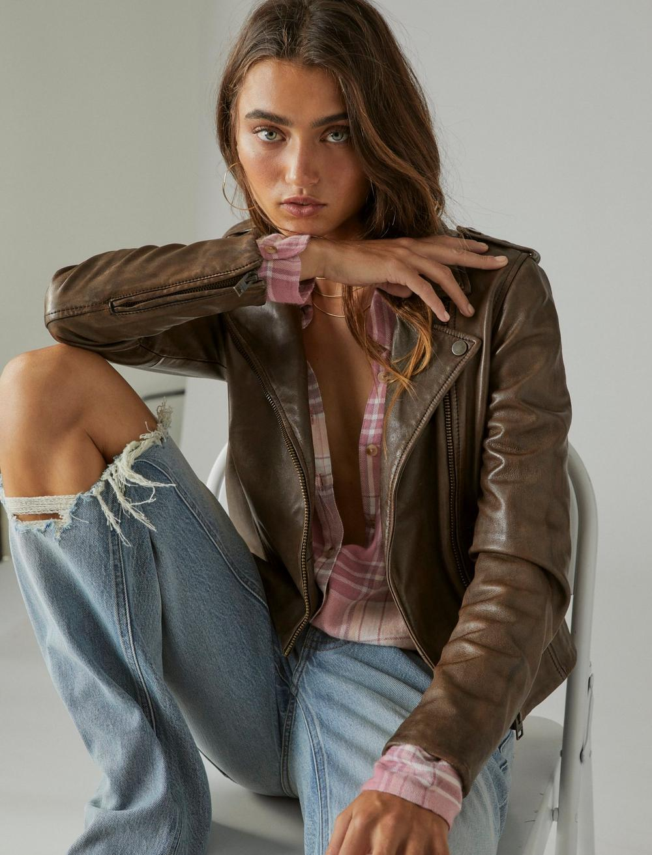 Classic Leather Moto Jacket, image 2