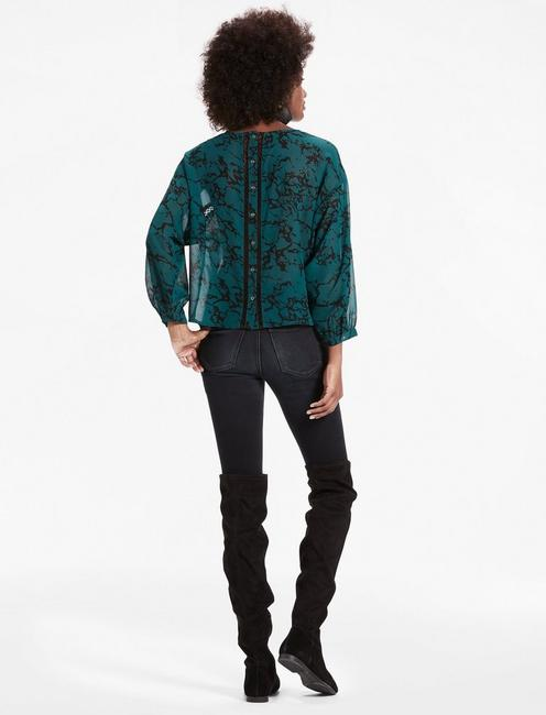 MARBLE PRINTED BLOUSE, GREEN MULTI