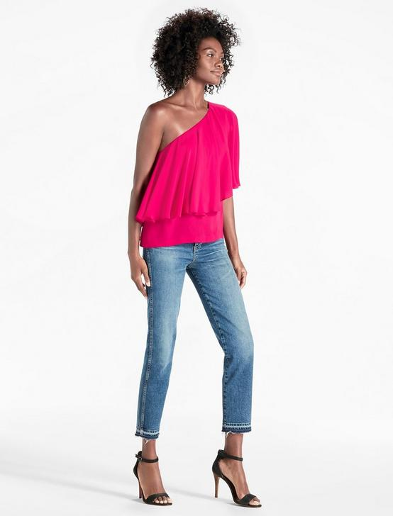 ONE SHOULDER TOP, CERISE, productTileDesktop