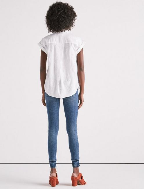 SOLID SHORT SLEEVE TOP, LUCKY WHITE