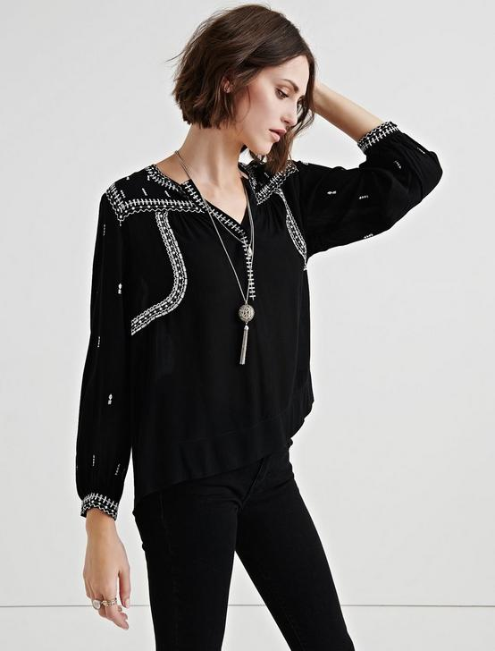 EMBROIDERED PEASANT TOP, BLACK MULTI, productTileDesktop