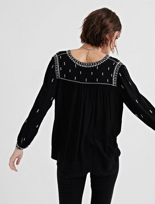 EMBROIDERED PEASANT TOP, BLACK MULTI