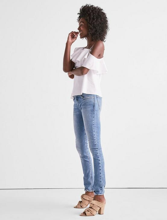 ONE SHOULDER RUFFLE TOP, LUCKY WHITE, productTileDesktop