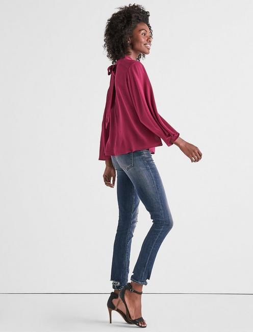 LONG SLEEVE SOLID CHOKER TOP, RASPBERRY RADIANCE