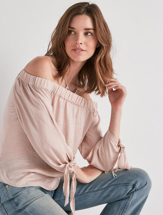 PARACHUTE OFF SHOULDER TOP, BLUSH, productTileDesktop