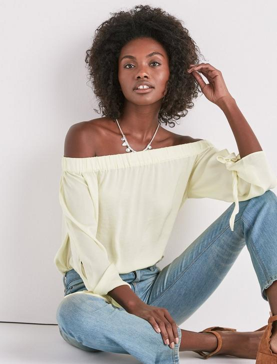 PARACHUTE OFF SHOULDER TOP, TENDER YELLOW, productTileDesktop