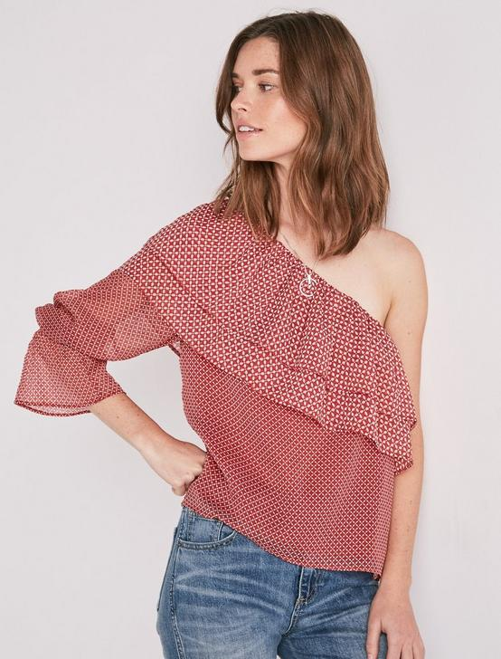 ONE SHOULDER TOP, RED MULTI, productTileDesktop