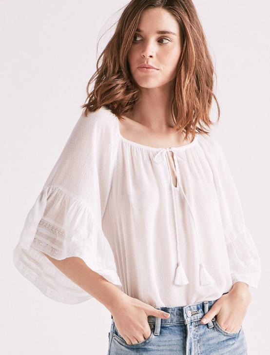 BELL SLEEVE PEASANT TOP, LUCKY WHITE, productTileDesktop