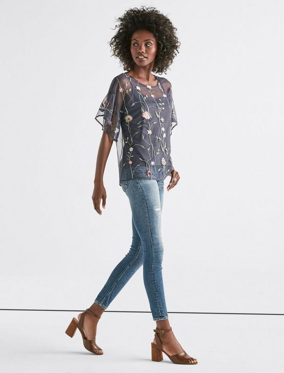 FLORAL EMBROIDERED TEE, SLATE, productTileDesktop