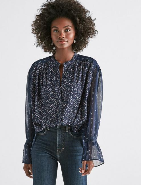 fd69c5374a8223 Lucky Mixed Print Peasant Top ...