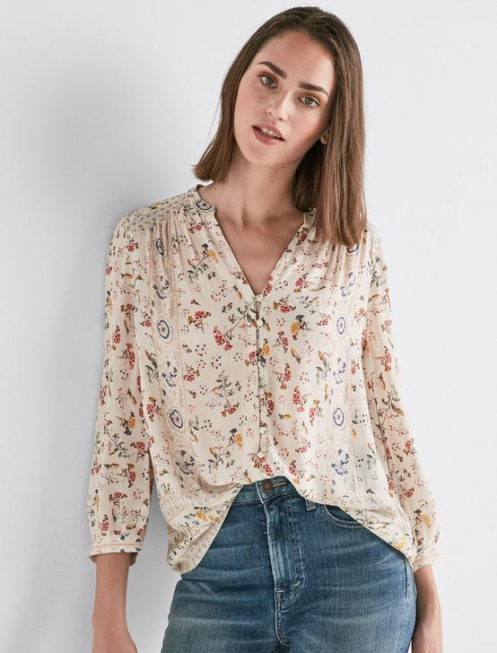 PRINTED PEASANT TOP, NATURAL MULTI, productTileDesktop