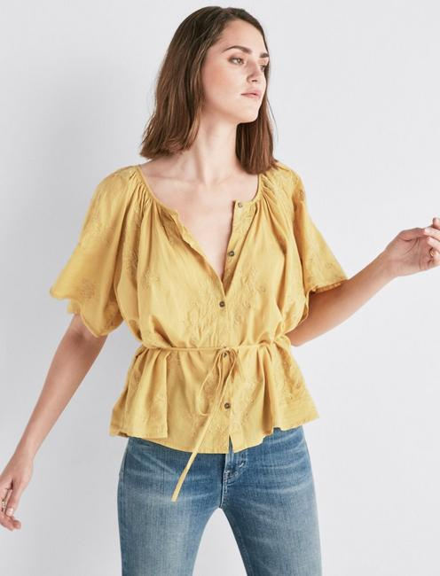 SHORT SLEEVE EMBROIDERED PEASANT TOP,