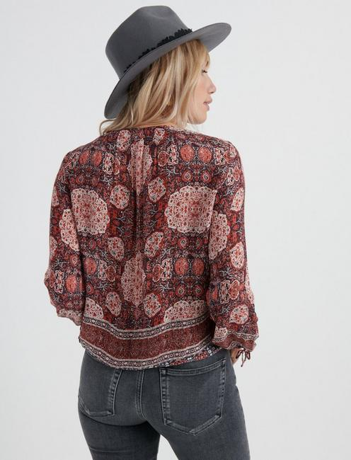 TAPESTRY PRINT TOP, RED MULTI
