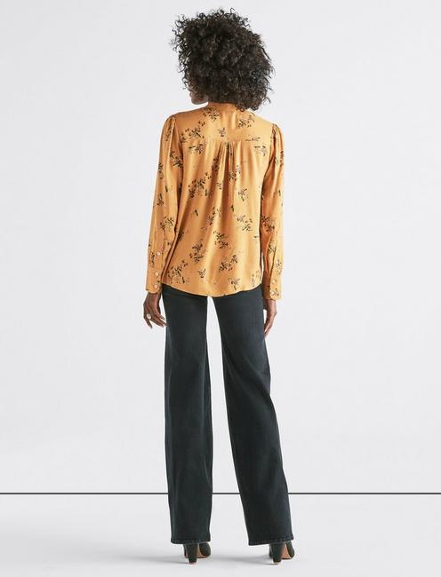 PRINTED PUFF SLEEVE SHIRT, GOLD MULTI