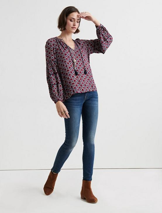 IKAT PEASANT TOP, NAVY MULTI, productTileDesktop