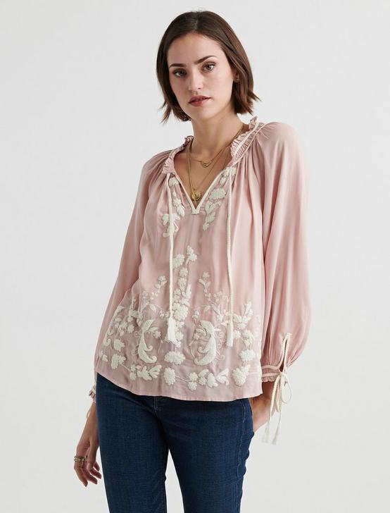 EMBROIDERED PEASANT TOP, BLUSH, productTileDesktop