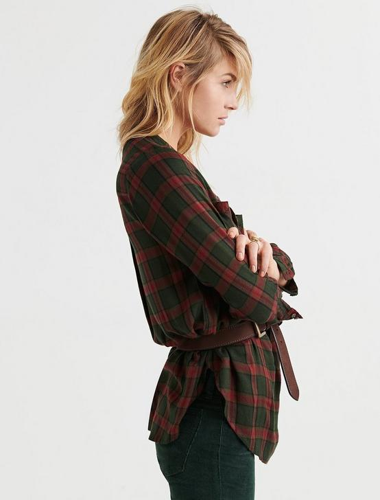 POPOVER TUNIC PLAID, OLIVE MULTI, productTileDesktop
