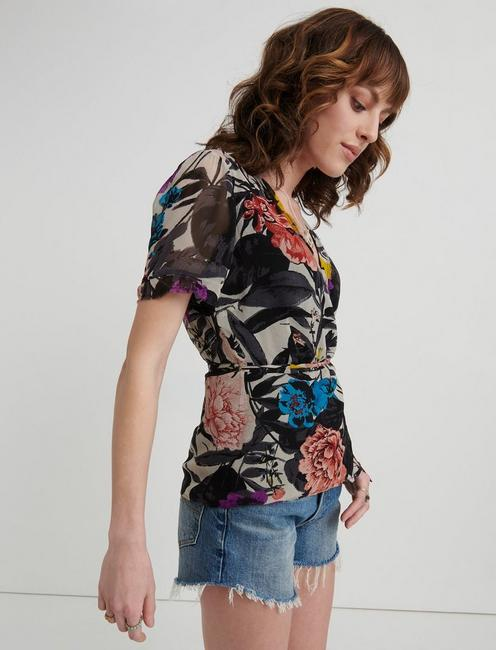 ABSTRACT FLORAL WRAP SHIRT, MULTI