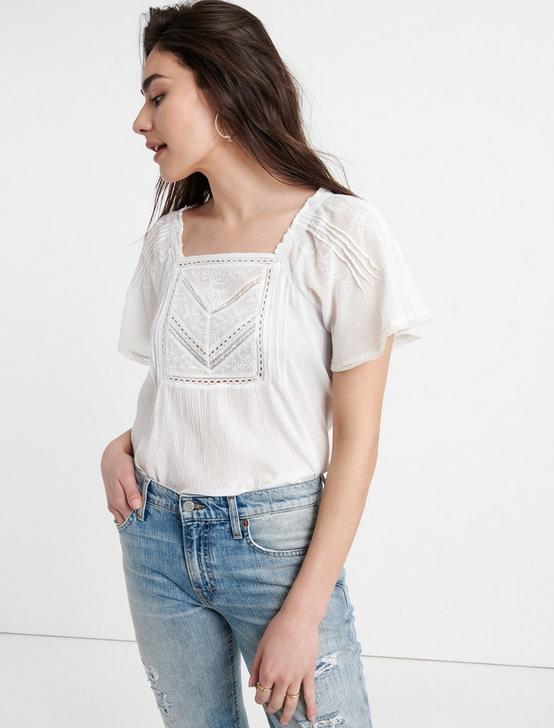 EMBROIDERED FLUTTER SLEEVE TOP, LUCKY WHITE, productTileDesktop