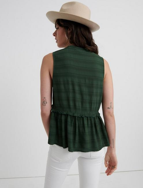 SLEEVELESS ROMANTIC RUFFLE TOP, SYCAMORE