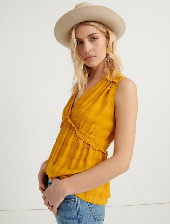 SLEEVELESS ROMANTIC RUFFLE TOP, GOLDEN SPICE, productTileDesktop