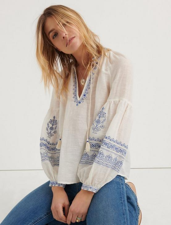 EMBROIDERED YOKE PEASANT TOP, #130 NATURAL, productTileDesktop