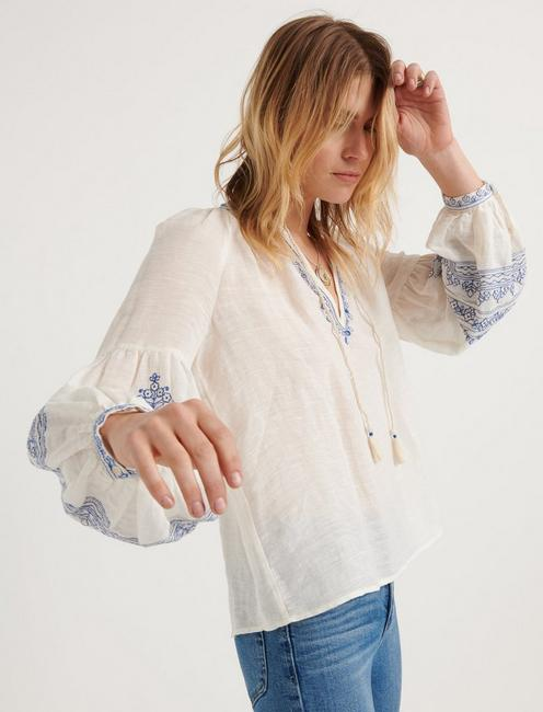 EMBROIDERED YOKE PEASANT TOP, #130 NATURAL