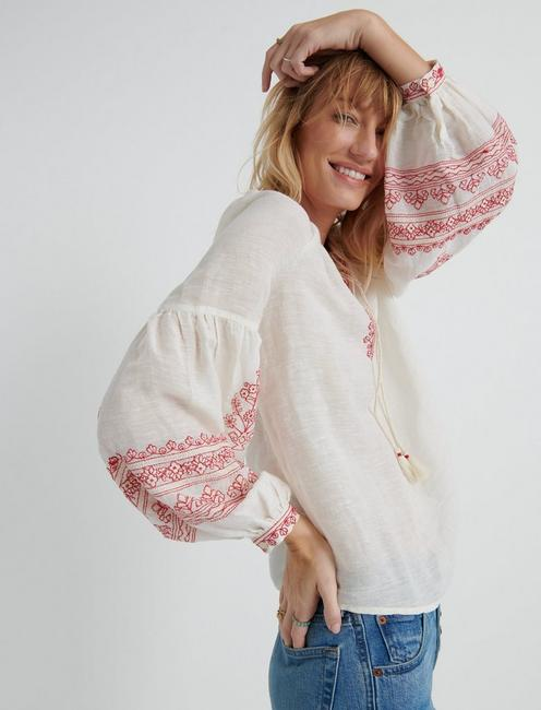 EMBROIDERED YOKE PEASANT TOP, 636 RED