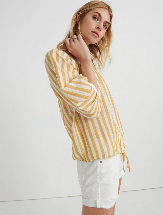 STRIPE BANDED TOP, YELLOW MULTI, productTileDesktop