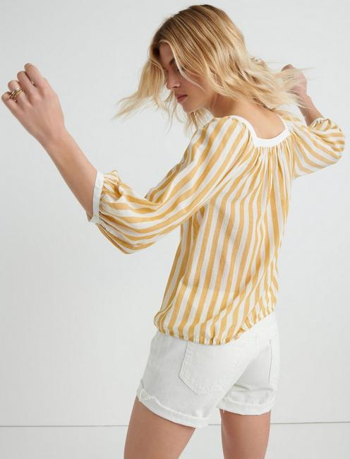 STRIPE BANDED TOP, YELLOW MULTI