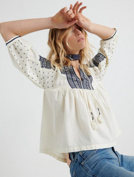 EMBROIDERED PEASANT TOP, #130 NATURAL, productTileDesktop