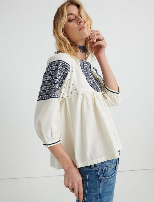 EMBROIDERED PEASANT TOP, #130 NATURAL