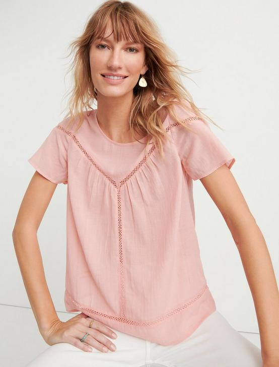 INSET LACE YOKE TOP, CORAL ALMOND, productTileDesktop