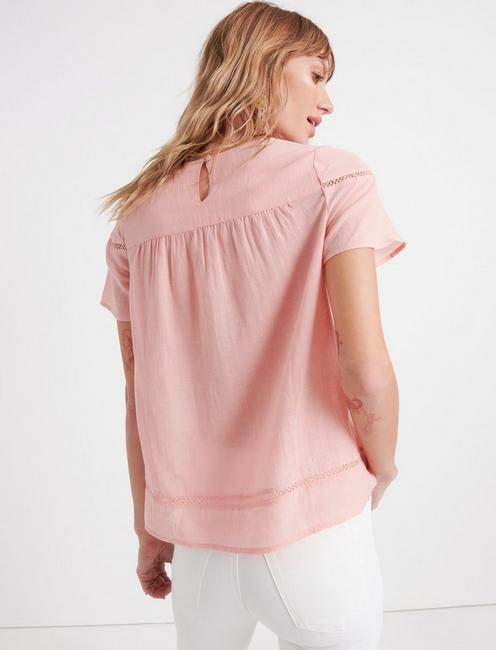 INSET LACE YOKE TOP, CORAL ALMOND